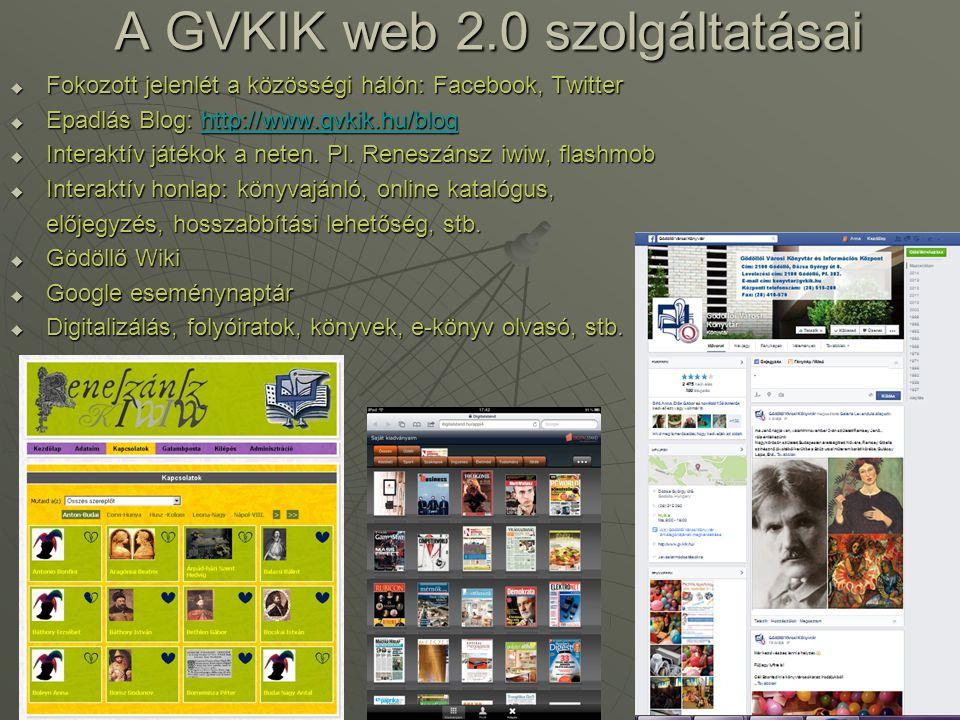 A GVKIK web 2.0 szolgáltatásai