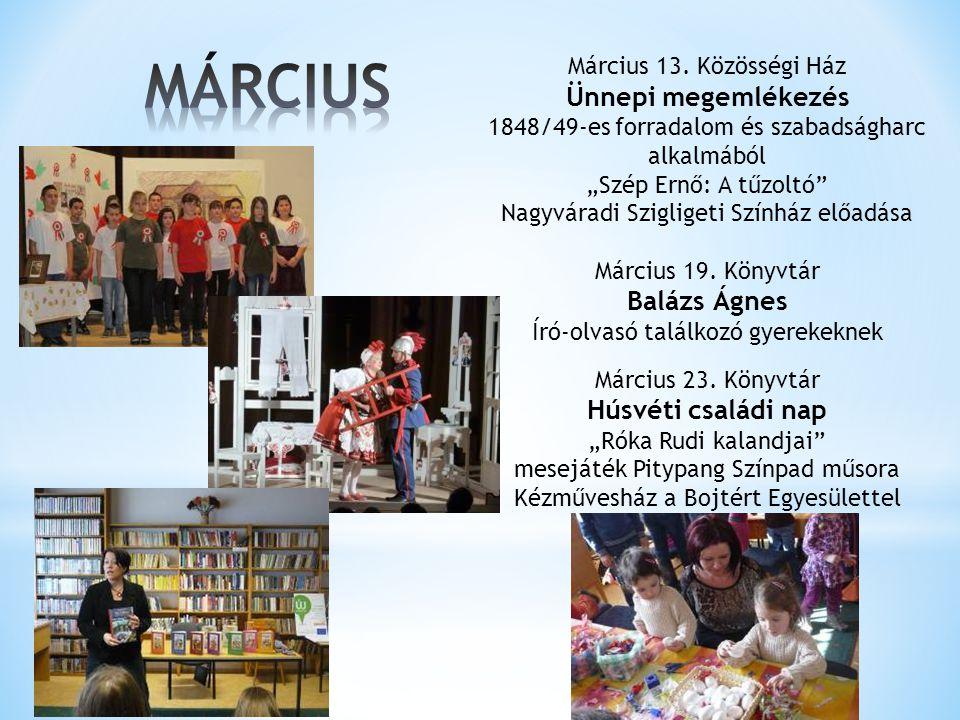 MÁRCIUS Ünnepi megemlékezés Balázs Ágnes Húsvéti családi nap