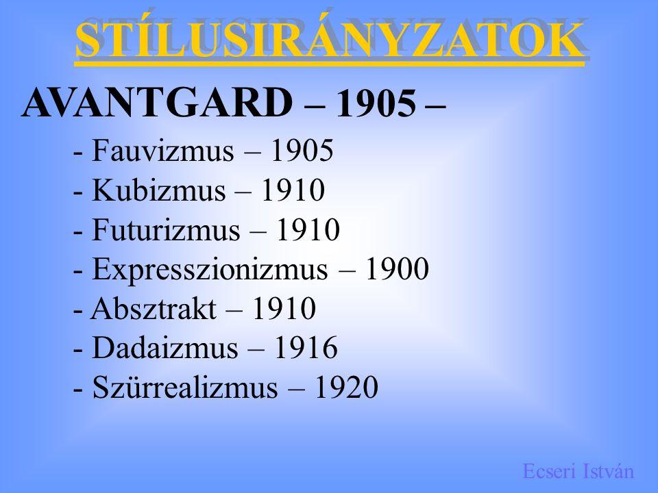 AVANTGARD – 1905 – STÍLUSIRÁNYZATOK - Fauvizmus – 1905
