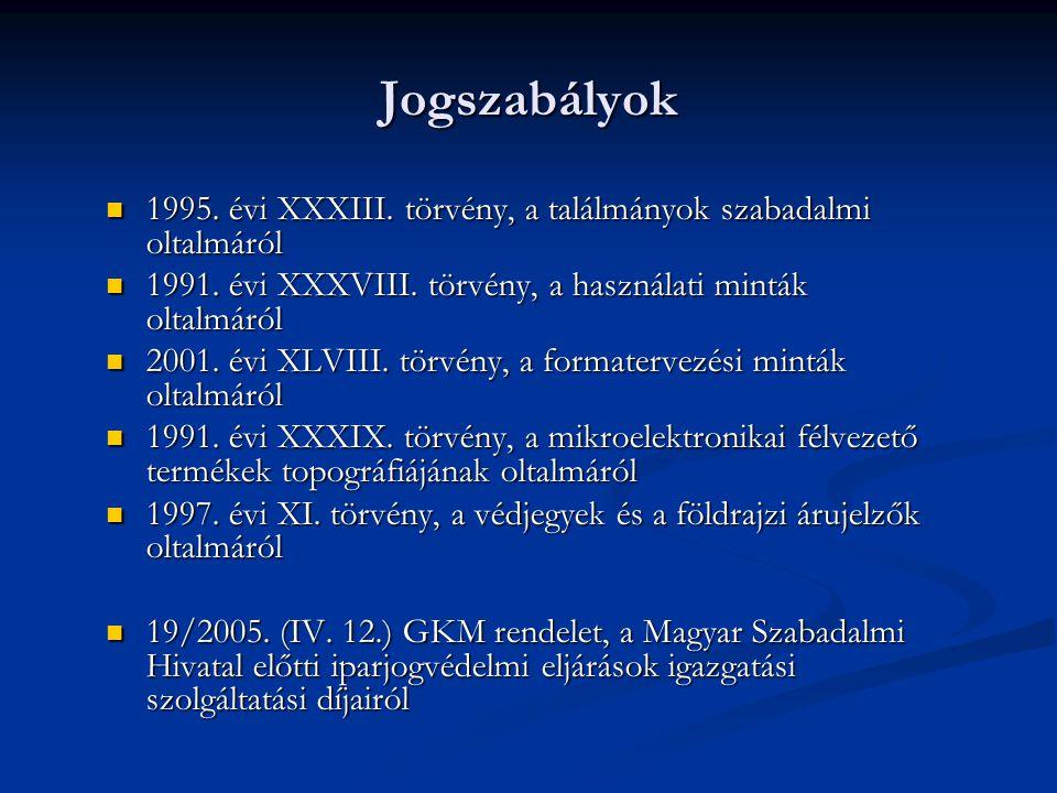 Jogszabályok 1995. évi XXXIII. törvény, a találmányok szabadalmi oltalmáról. 1991. évi XXXVIII. törvény, a használati minták oltalmáról.