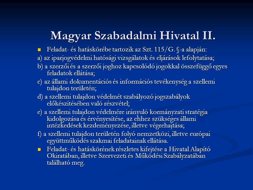 Magyar Szabadalmi Hivatal II.