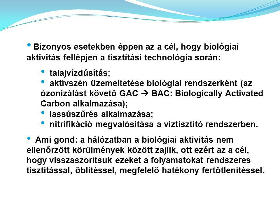 Bizonyos esetekben éppen az a cél, hogy biológiai aktivitás fellépjen a tisztítási technológia során: