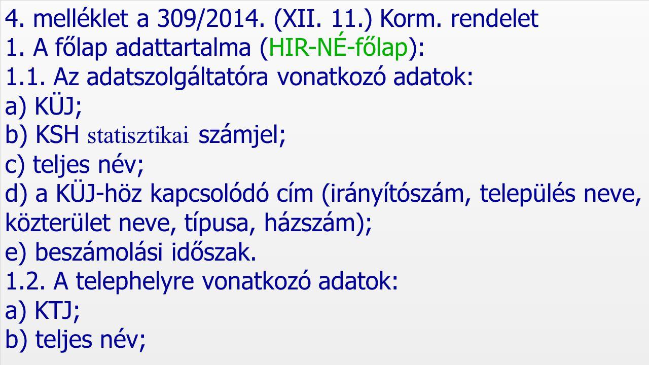 4. melléklet a 309/2014. (XII. 11.) Korm. rendelet
