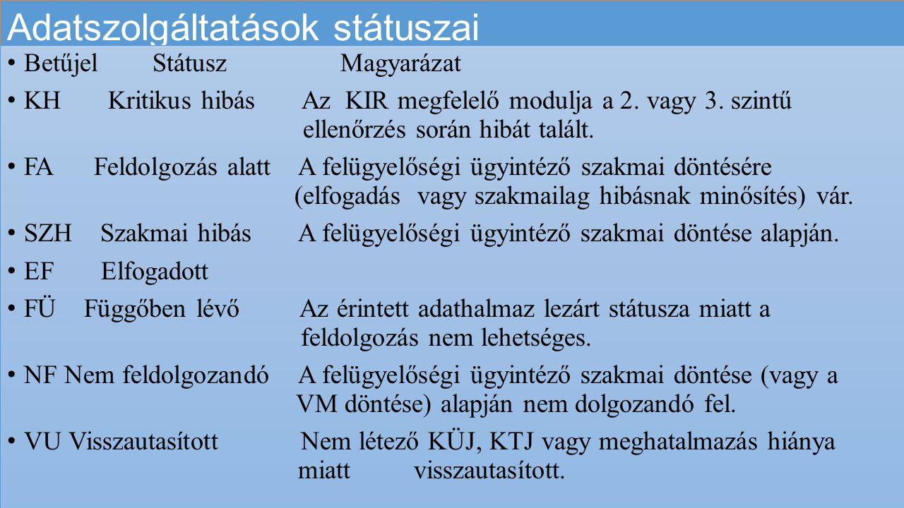 Adatszolgáltatások státuszai
