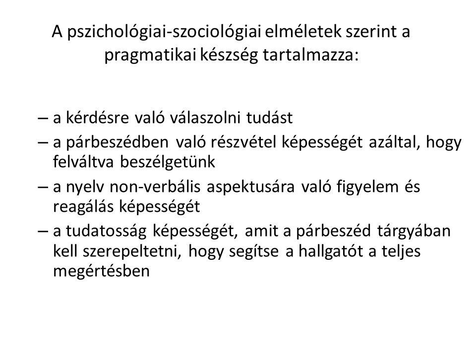A pszichológiai-szociológiai elméletek szerint a pragmatikai készség tartalmazza: