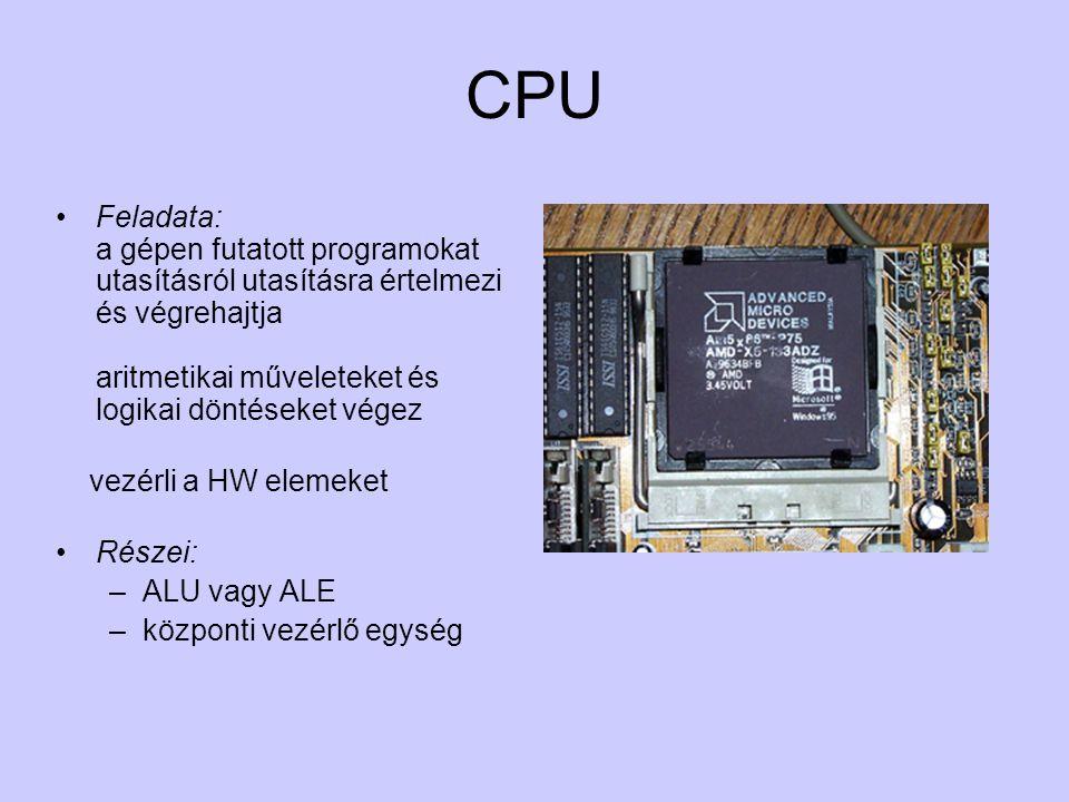 CPU Feladata: a gépen futatott programokat utasításról utasításra értelmezi és végrehajtja aritmetikai műveleteket és logikai döntéseket végez.