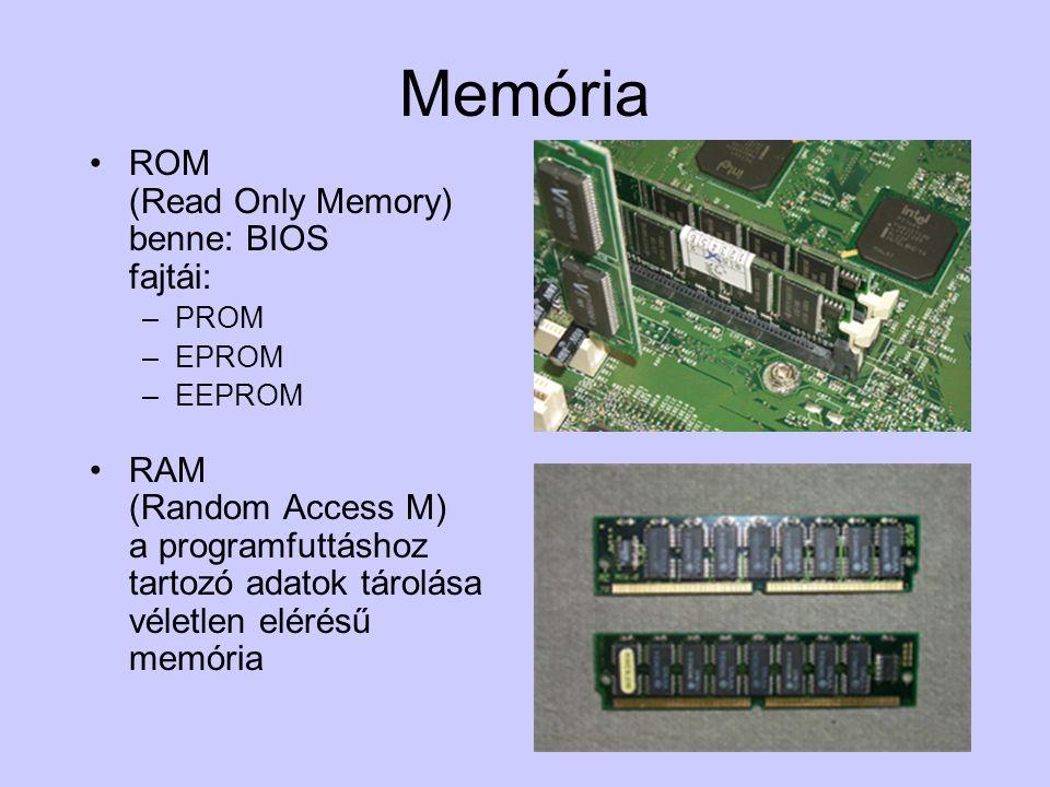 Memória ROM (Read Only Memory) benne: BIOS fajtái:
