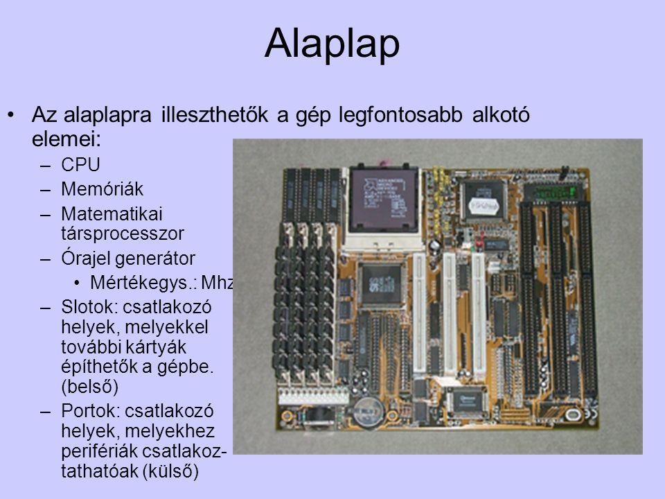 Alaplap Az alaplapra illeszthetők a gép legfontosabb alkotó elemei: