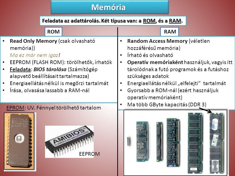 Memória Feladata az adattárolás. Két típusa van: a ROM, és a RAM. ROM