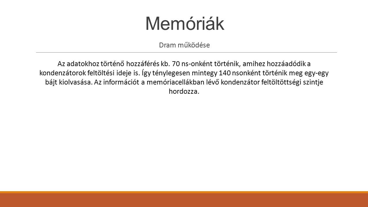 Memóriák Dram működése