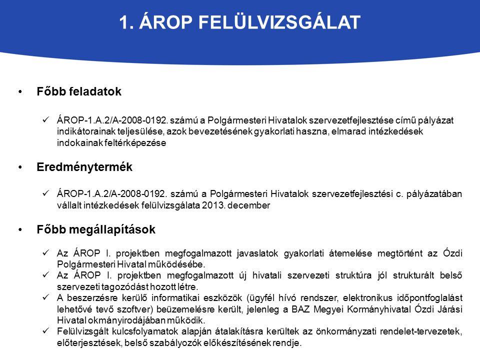 1. Árop felülvizsgálat Főbb feladatok Eredménytermék