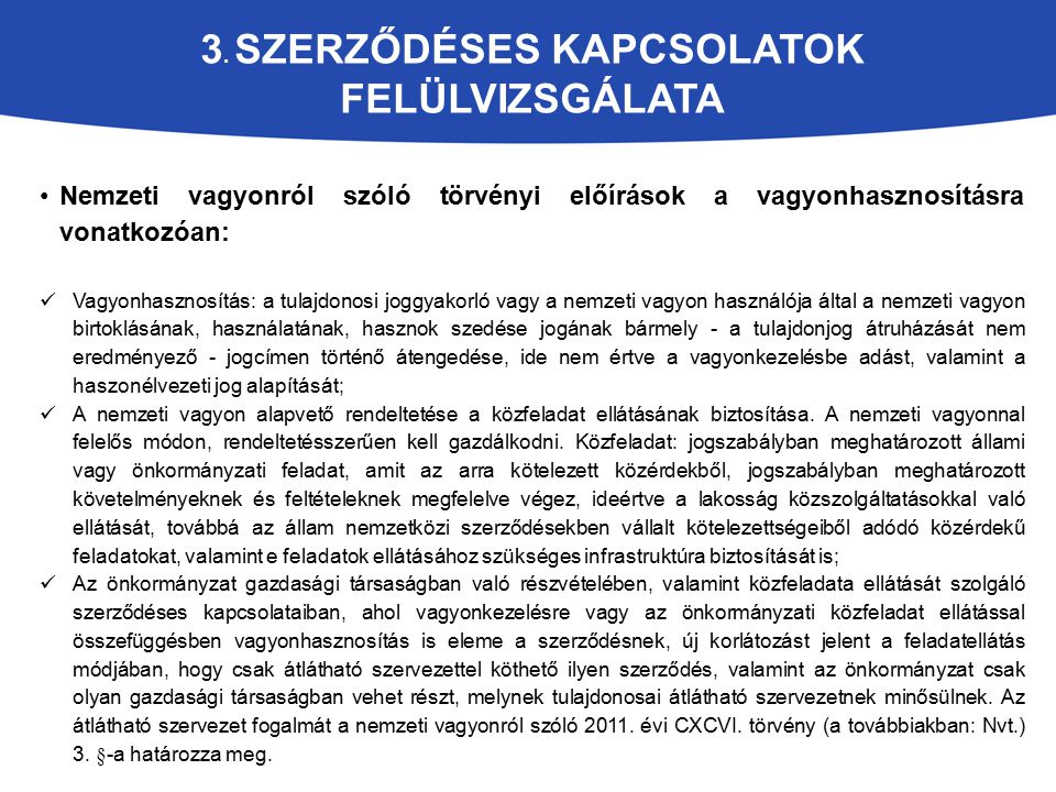 3. Szerződéses kapcsolatok felülvizsgálata