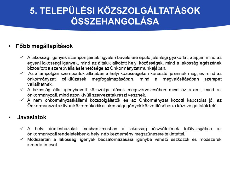 5. Települési közszolgáltatások összehangolása