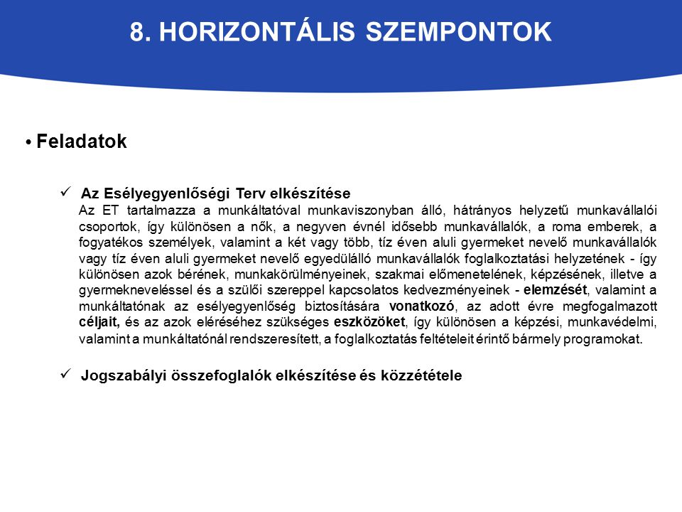 8. Horizontális szempontok