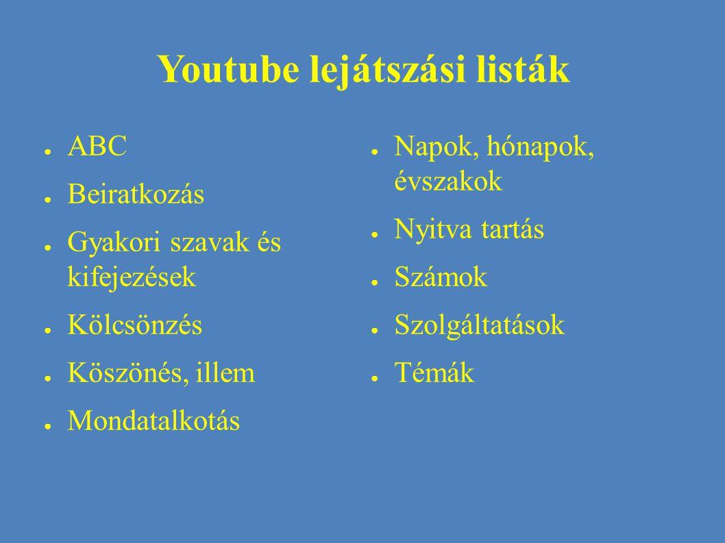 Youtube lejátszási listák
