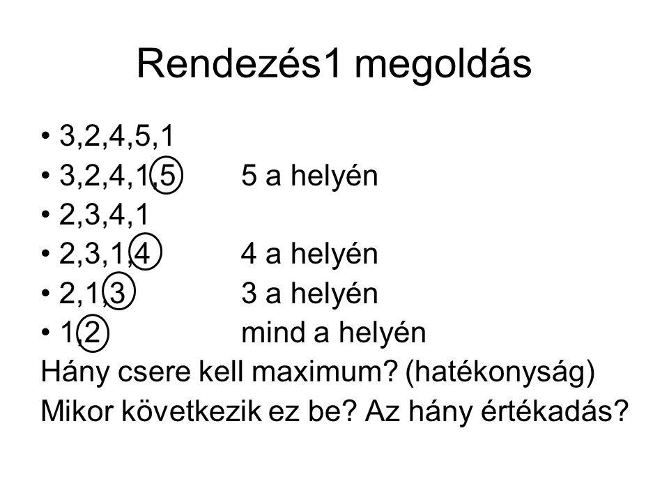 Rendezés1 megoldás 3,2,4,5,1 3,2,4,1,5 5 a helyén 2,3,4,1