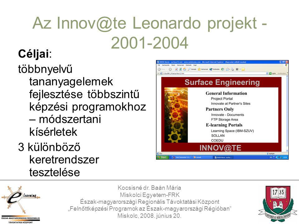 Az Innov@te Leonardo projekt - 2001-2004