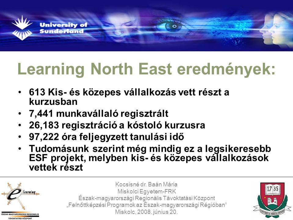 Learning North East eredmények: