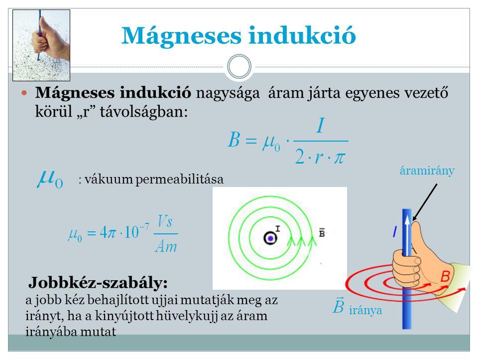 """Mágneses indukció Mágneses indukció nagysága áram járta egyenes vezető körül """"r távolságban: áramirány."""