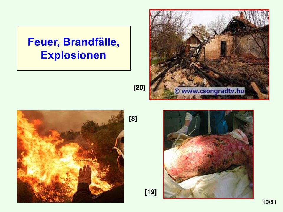 Feuer, Brandfälle, Explosionen