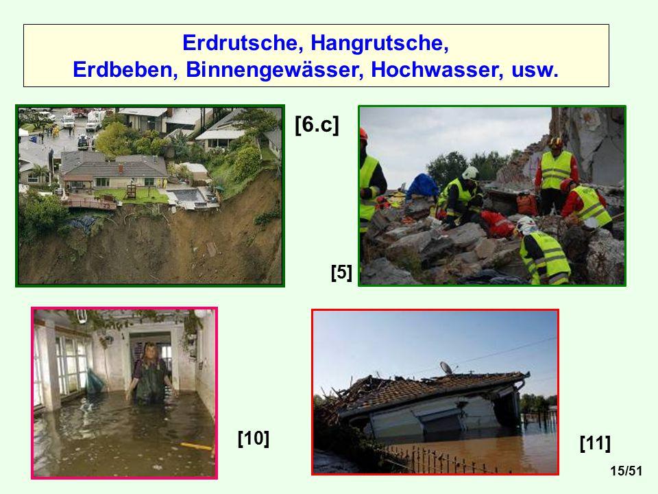 Erdrutsche, Hangrutsche, Erdbeben, Binnengewässer, Hochwasser, usw.