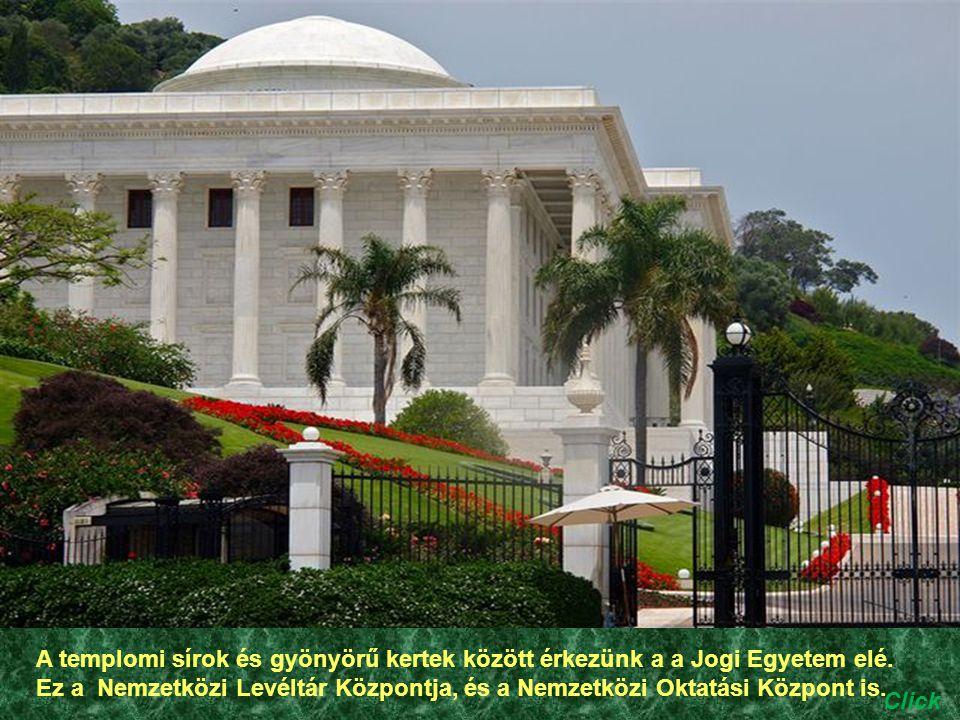 A templomi sírok és gyönyörű kertek között érkezünk a a Jogi Egyetem elé. Ez a Nemzetközi Levéltár Központja, és a Nemzetközi Oktatási Központ is.