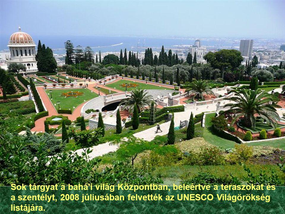 Sok tárgyat a bahá í világ Központban, beleértve a teraszokat és a szentélyt, 2008 júliusában felvették az UNESCO Világörökség listájára.