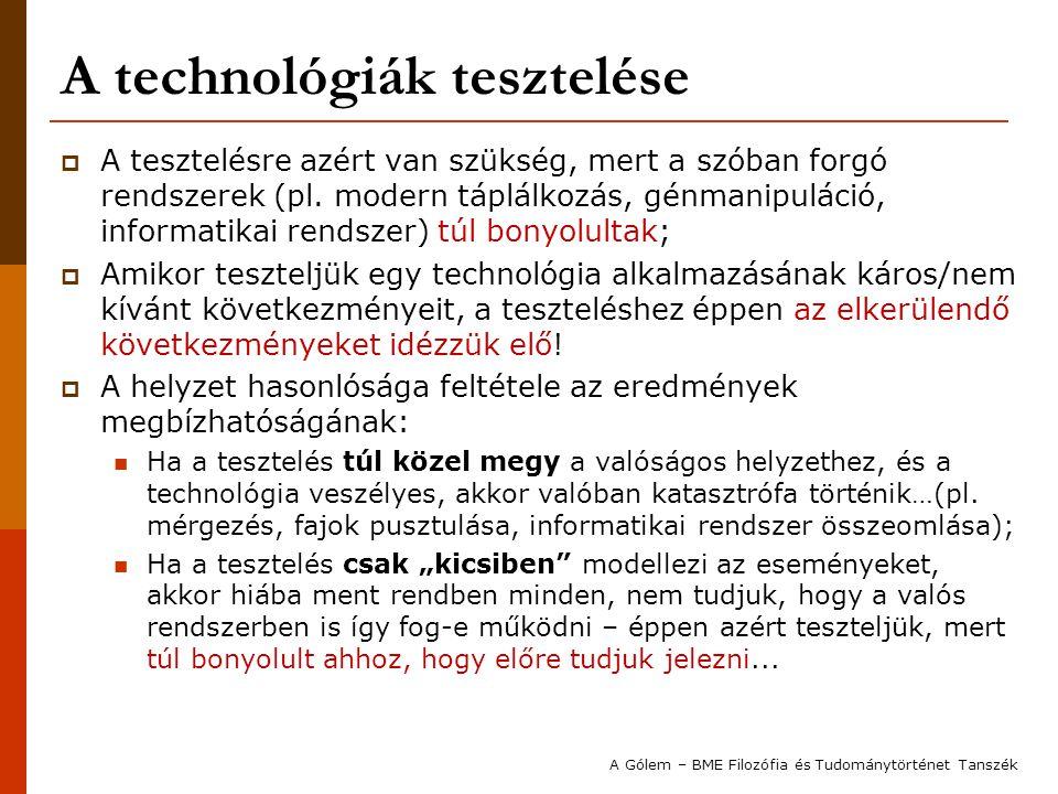 A technológiák tesztelése