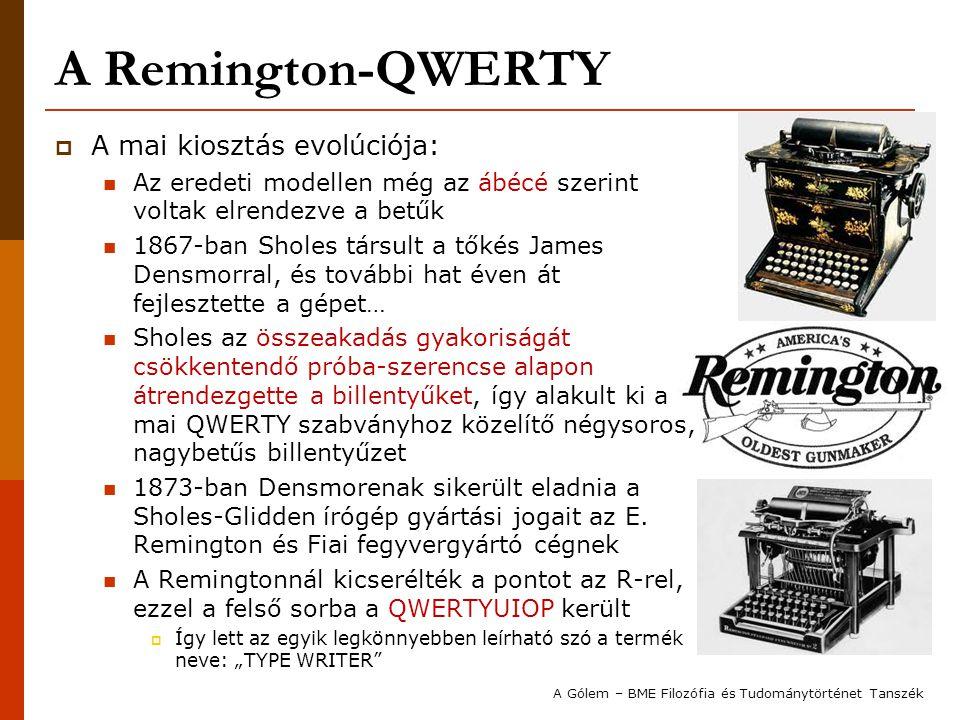 A Remington-QWERTY A mai kiosztás evolúciója: