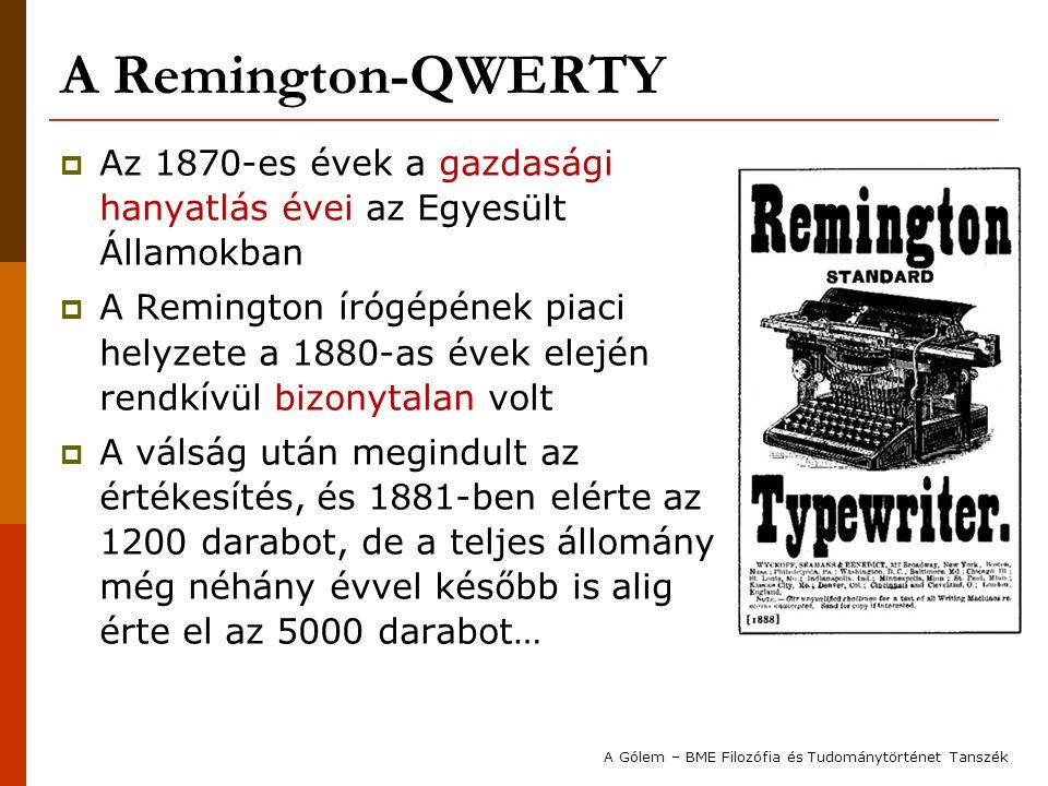 A Remington-QWERTY Az 1870-es évek a gazdasági hanyatlás évei az Egyesült Államokban.
