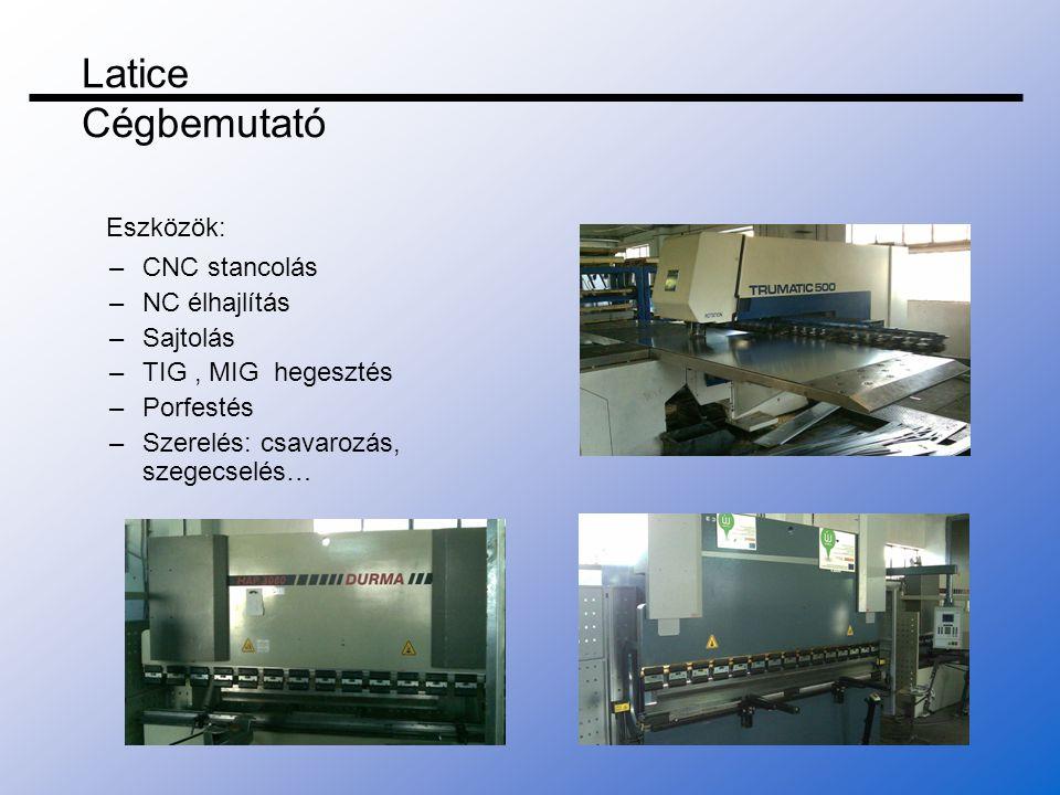 Latice Cégbemutató Eszközök: CNC stancolás NC élhajlítás Sajtolás