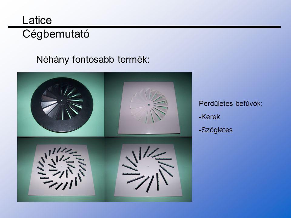 Latice Cégbemutató Néhány fontosabb termék: Perdületes befúvók: -Kerek