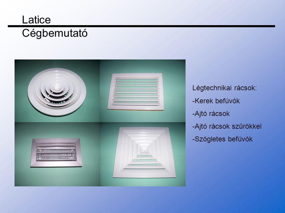 Latice Cégbemutató Légtechnikai rácsok: -Kerek befúvók -Ajtó rácsok
