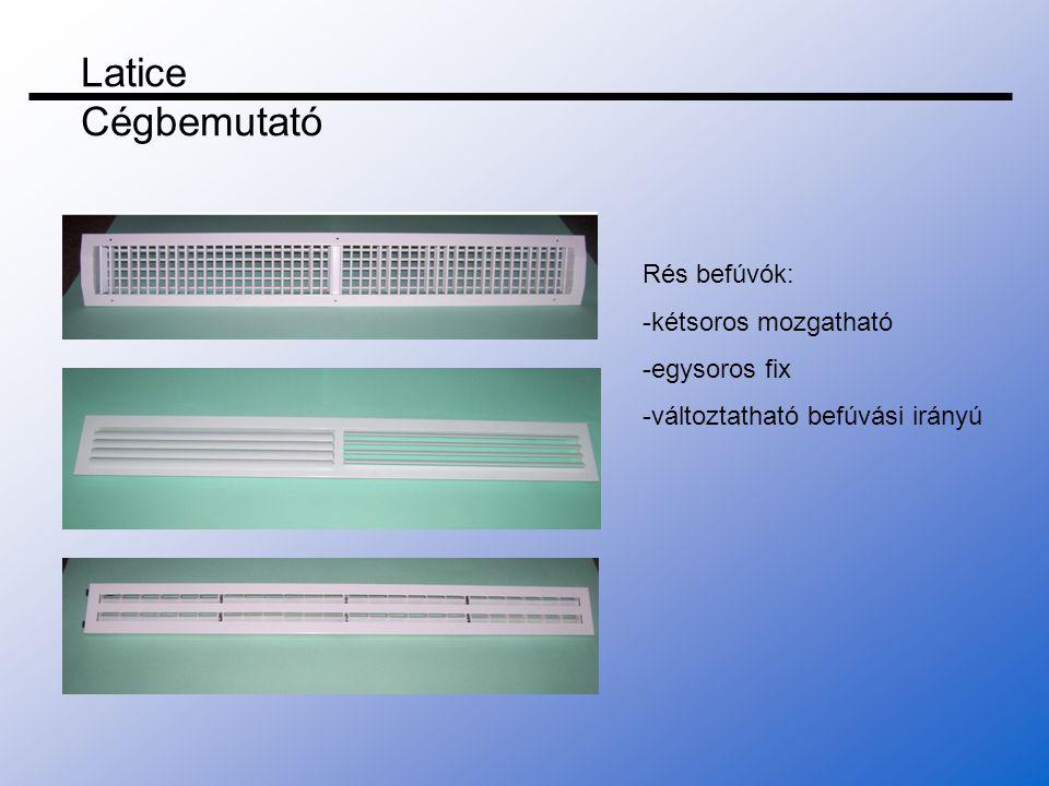 Latice Cégbemutató Rés befúvók: -kétsoros mozgatható -egysoros fix
