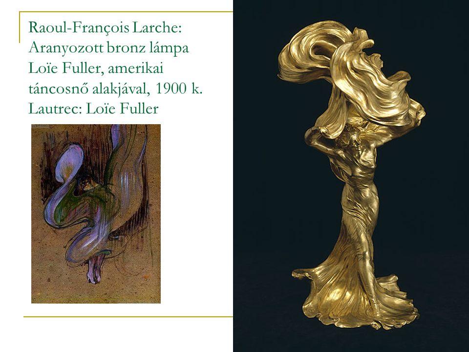 Raoul-François Larche: Aranyozott bronz lámpa Loïe Fuller, amerikai táncosnő alakjával, 1900 k.