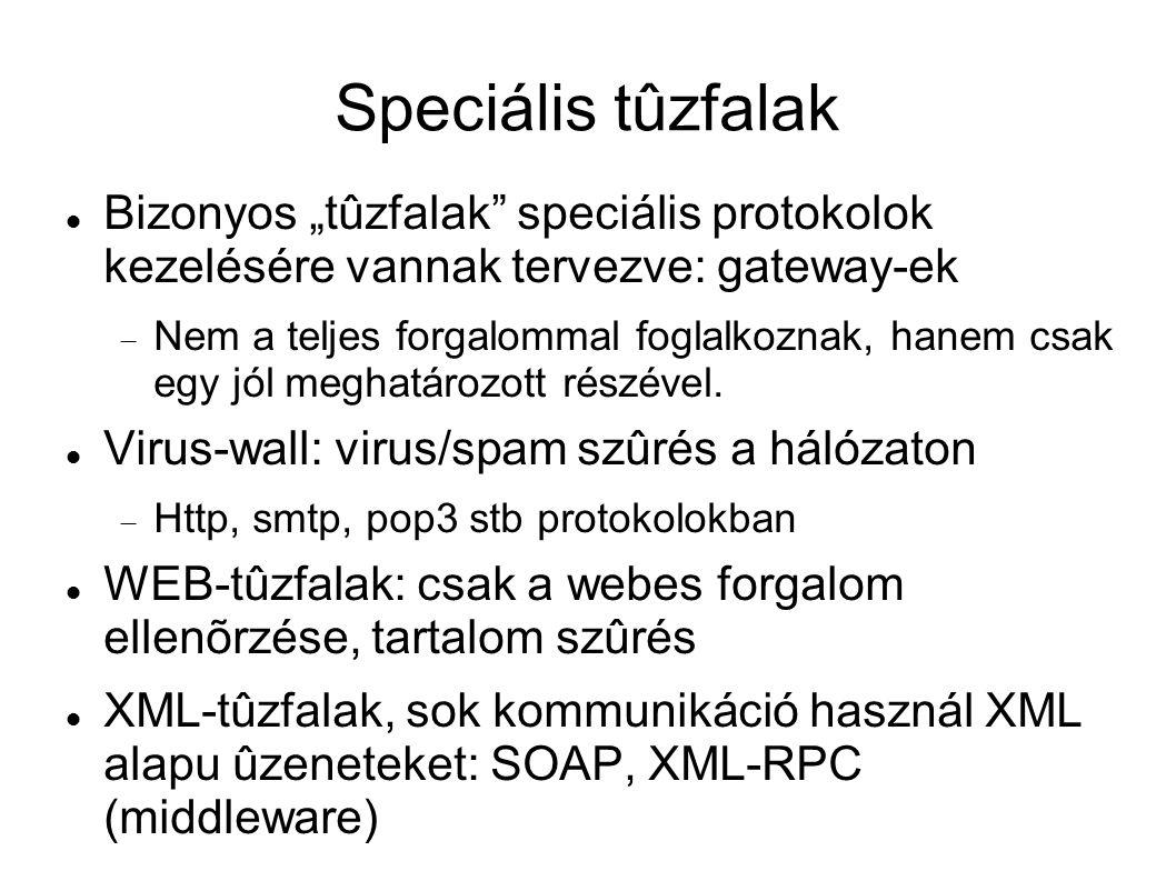 """Speciális tûzfalak Bizonyos """"tûzfalak speciális protokolok kezelésére vannak tervezve: gateway-ek."""