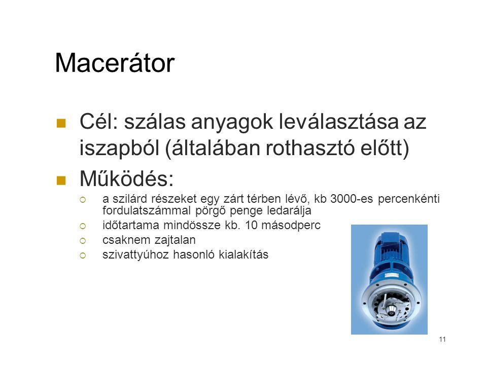 Macerátor Cél: szálas anyagok leválasztása az iszapból (általában rothasztó előtt) Működés: