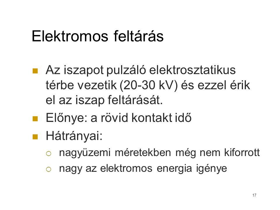 Elektromos feltárás Az iszapot pulzáló elektrosztatikus térbe vezetik (20-30 kV) és ezzel érik el az iszap feltárását.