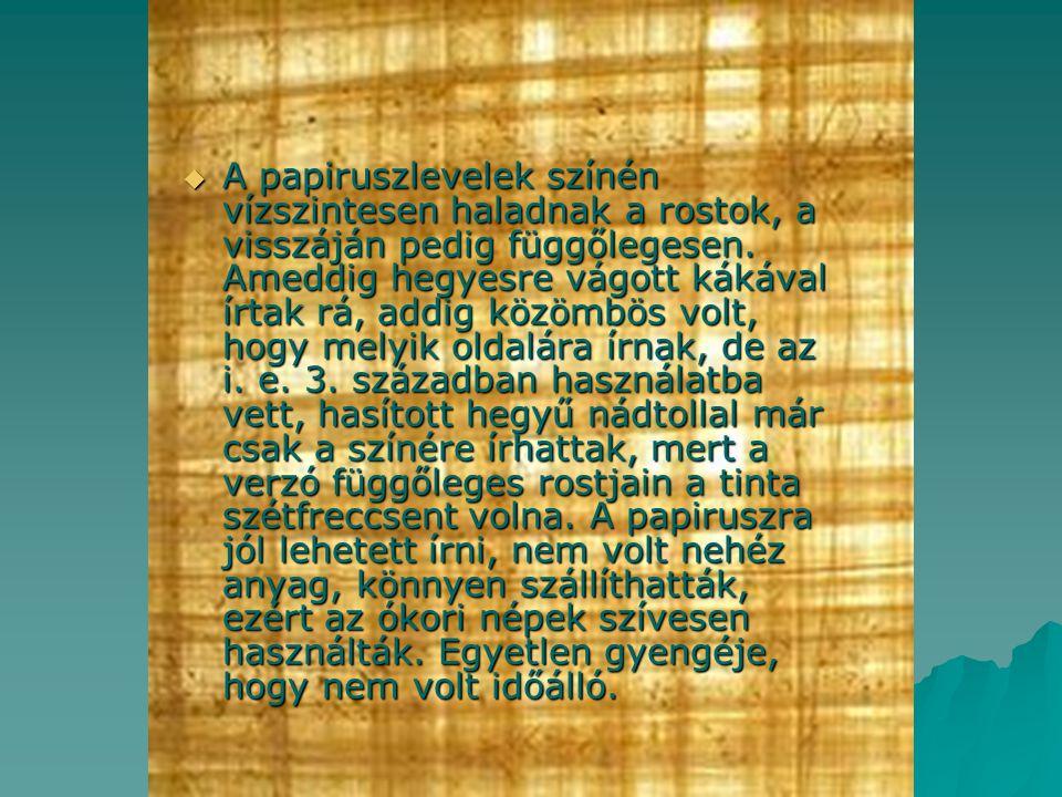 A papiruszlevelek színén vízszintesen haladnak a rostok, a visszáján pedig függőlegesen.