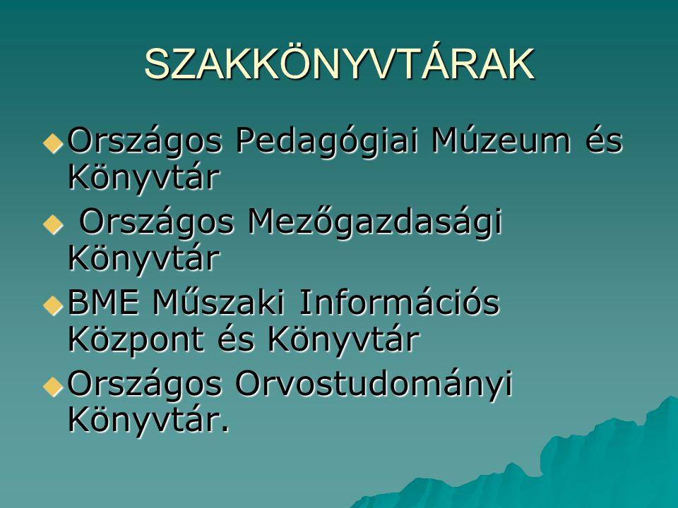 SZAKKÖNYVTÁRAK Országos Pedagógiai Múzeum és Könyvtár