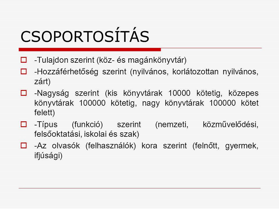 CSOPORTOSÍTÁS -Tulajdon szerint (köz- és magánkönyvtár)