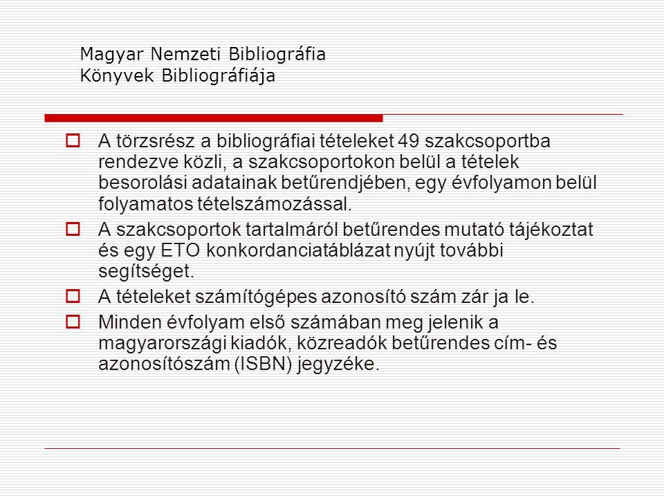 Magyar Nemzeti Bibliográfia Könyvek Bibliográfiája