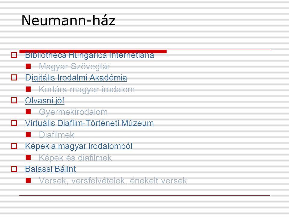 Neumann-ház Magyar Szövegtár Kortárs magyar irodalom Gyermekirodalom