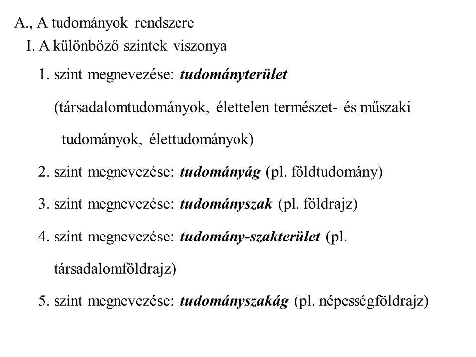 A. , A tudományok rendszere I. A különböző szintek viszonya 1