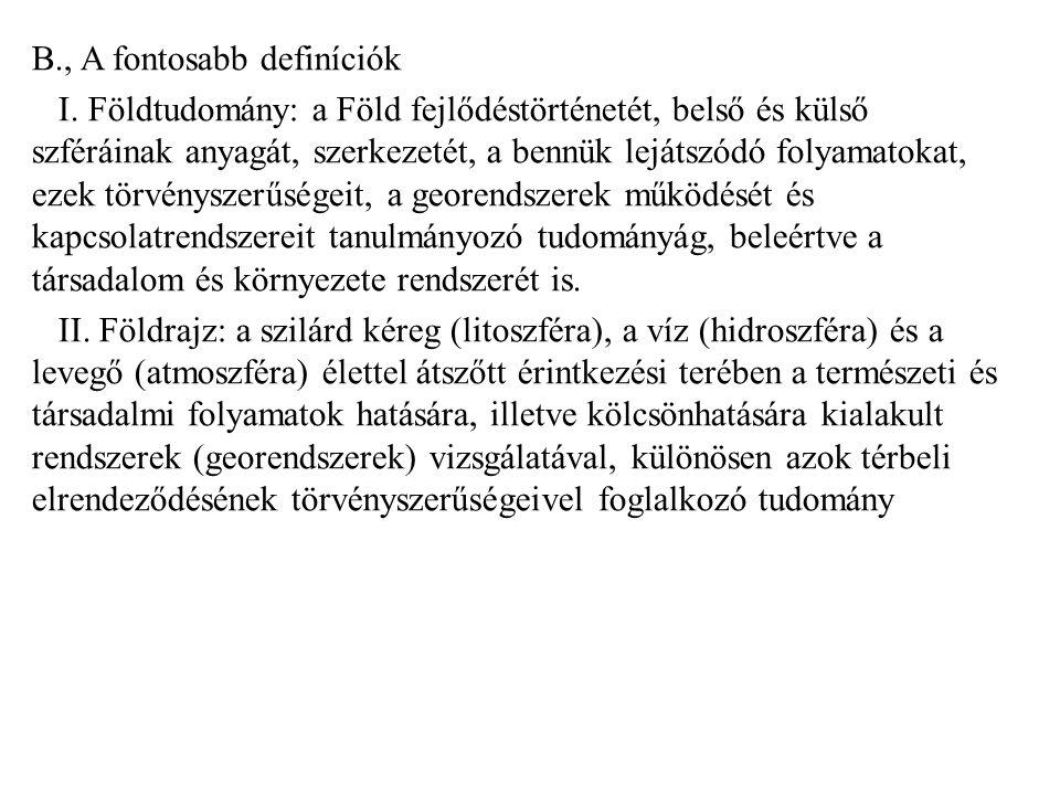 B. , A fontosabb definíciók I