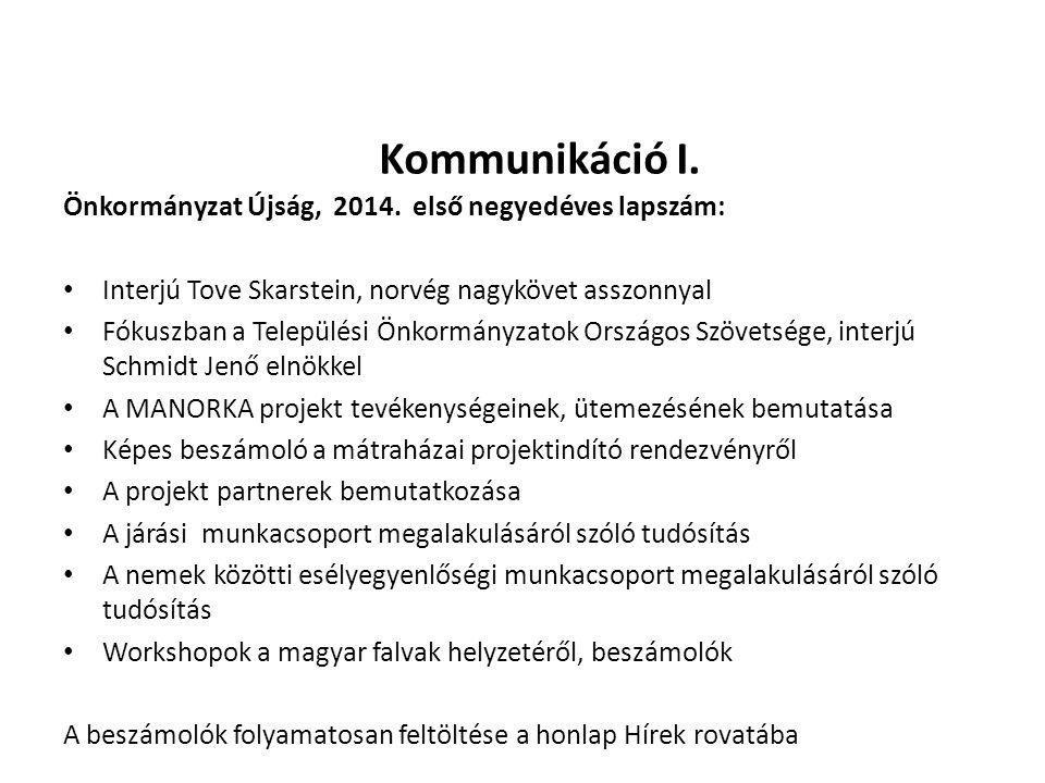 Kommunikáció I. Önkormányzat Újság, 2014. első negyedéves lapszám: