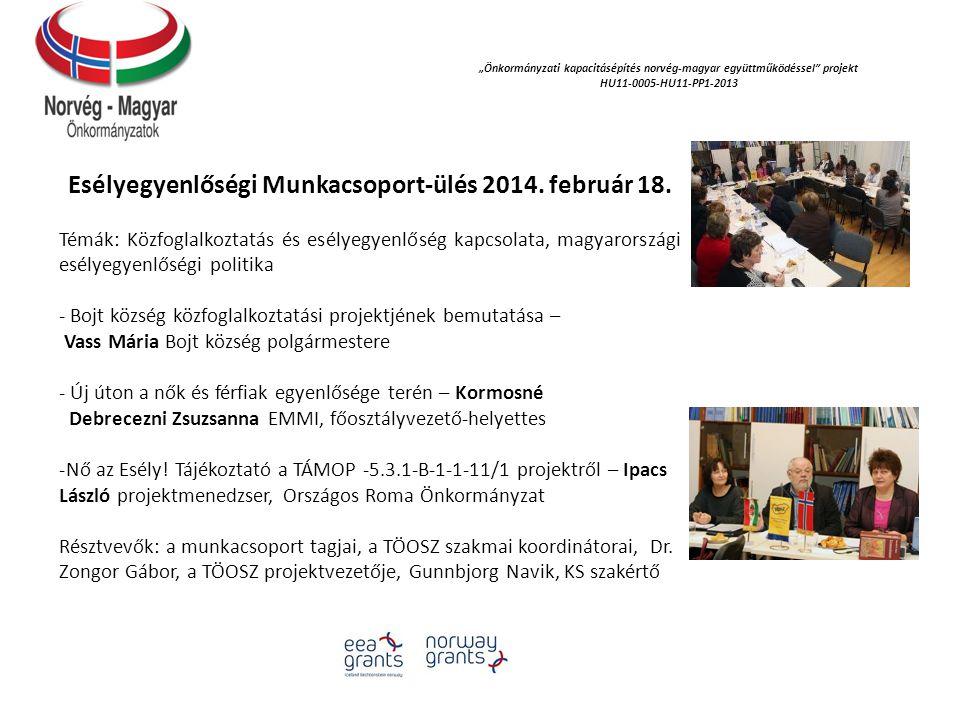 Esélyegyenlőségi Munkacsoport-ülés 2014. február 18.