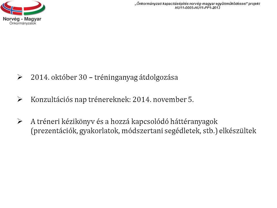 2014. október 30 – tréninganyag átdolgozása