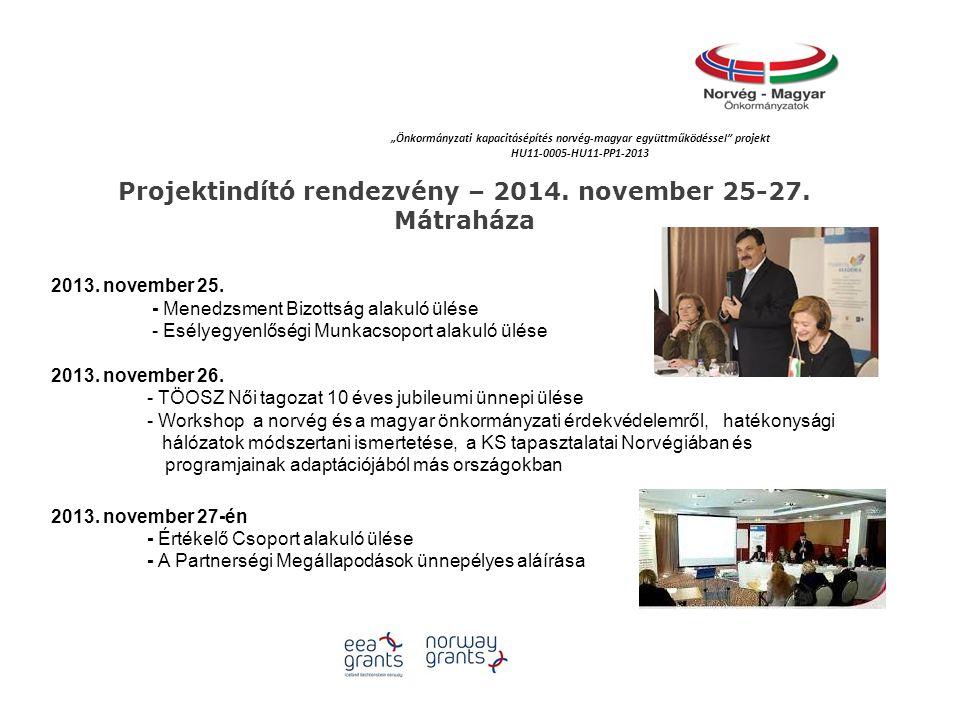 Projektindító rendezvény – 2014. november 25-27. Mátraháza