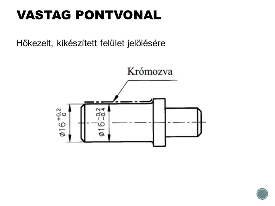 VASTAG PONTVONAL Hőkezelt, kikészített felület jelölésére